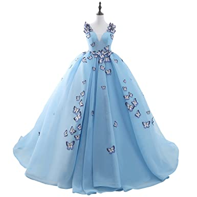 ef0fb9070c4b4 Noriviiq Women's V-Neck Embroidered Butterfly Light Blue Ball Gown Wedding  Dresses Floor Length Size