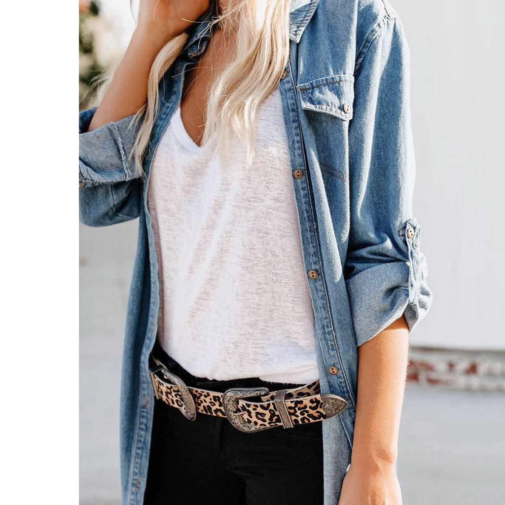 a76ff874329 COGIGI Womens Button Down Denim Dress Sexy Ladies Belt Jeans Long Tops  Shirt Maxi Dress at Amazon Women s Clothing store