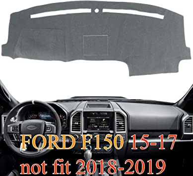 Fits 2015-2017 FORD F-150 Custom Fit Dash Cover Gray Carpet Dashboard Cover