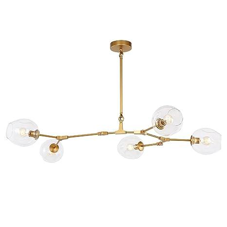 modern lighting fixture. Light Society Thurston 5-Light Adjustable Chandelier Pendant, Matte Gold  With Clear Glass Shades Modern Lighting Fixture
