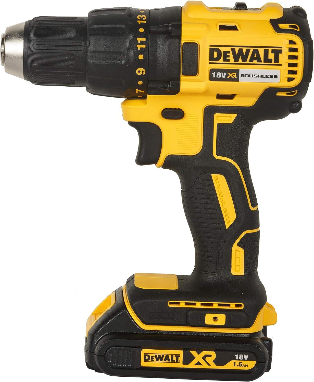 DEWALT DCD777S2T-QW - Taladro Atornillador sin escobillas XR 18V, 13mm, 65Nm con 2 baterías Li-Ion 1.5Ah y maletín TSTAK, negro, amarillo