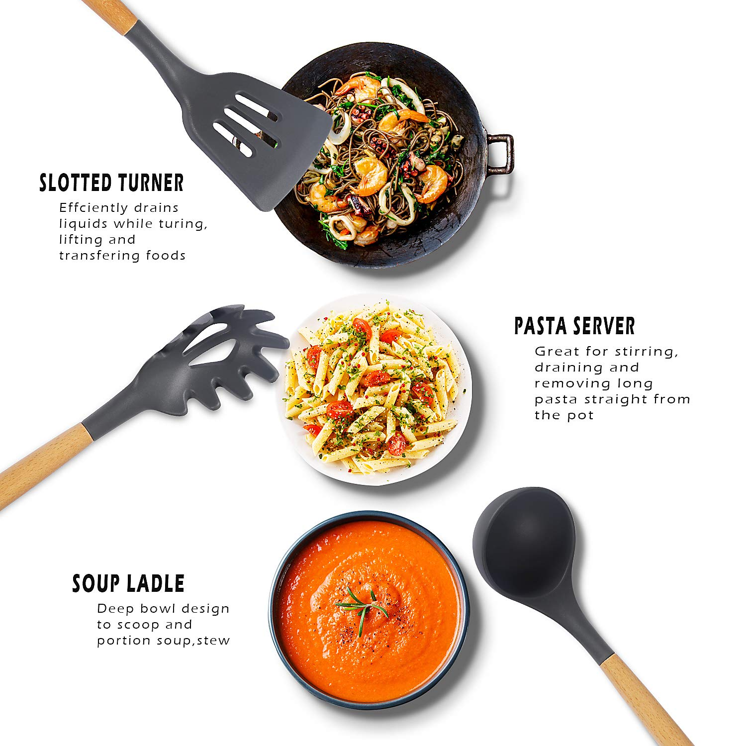 Kitchen Utensil Set - 11 Piece Cooking Utensils - Non-stick Silicone and Wooden Utensils. BPA Free, Non Toxic Turner Tongs Spatula Spoon Set. Best Chef Kitchen Tool Set Gray - Chef's Hand by Chef's Hand (Image #3)