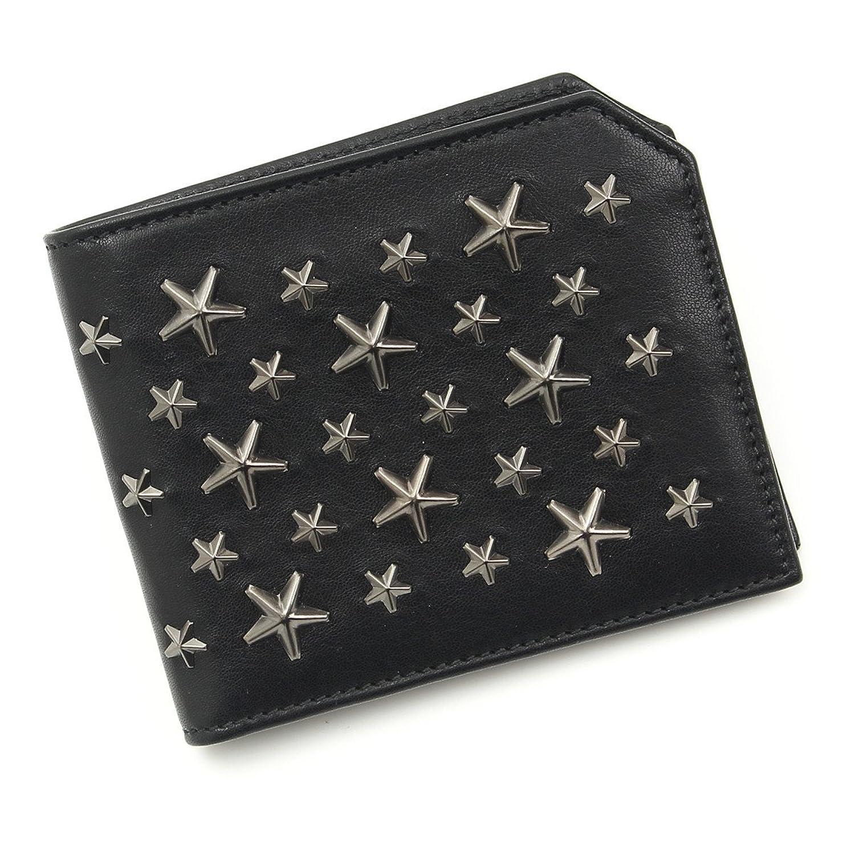 ジミーチュウ アルバニー スタースタッズ レザー二つ折り財布 ブラック ガンメタ 中古 B072BG6153