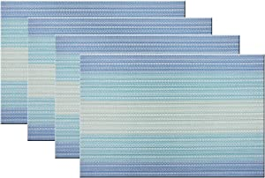 Bright Dream Placemats Washable Easy to Clean PVC Placemat for Kitchen Table Heat-resistand Woven Vinyl Hard Table Mats 12x18 inches Set of 4 (Blue)