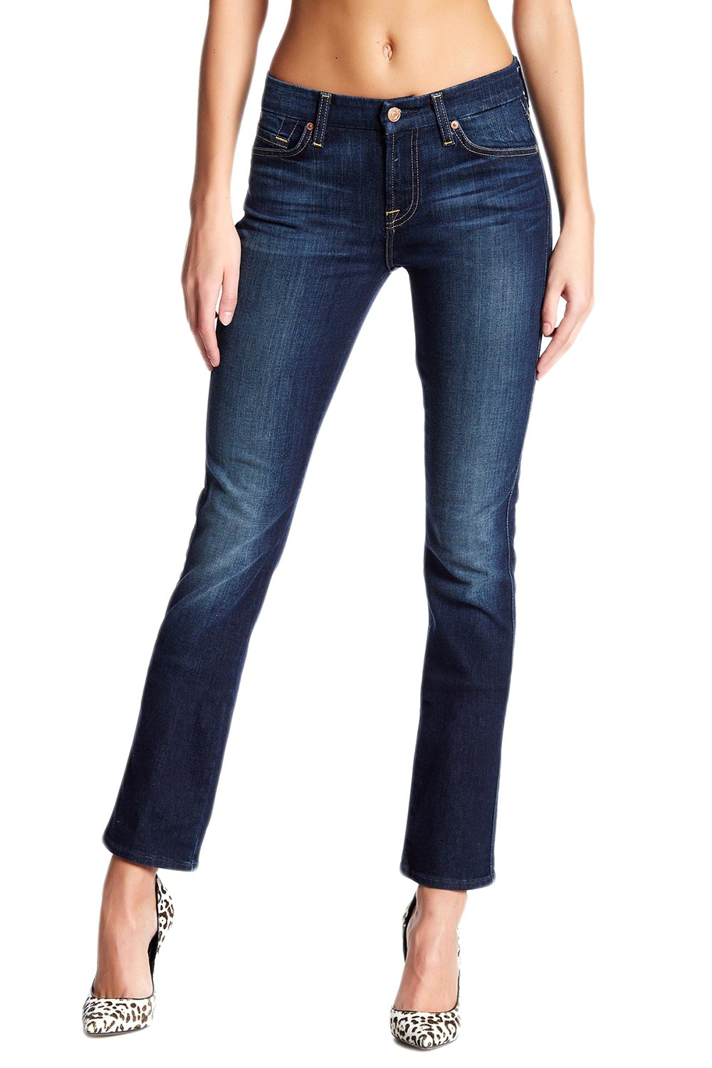 7 For All Mankind Women's Karah Form Fitted Straight Leg Jeans (Dark Blue, 26)