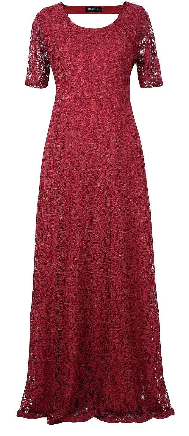 226ebdbd4 Amazon.com: Unomatch Women Back Zip Fastening Lace Long Plus Size Dress Red  Wine (16, RED): Clothing