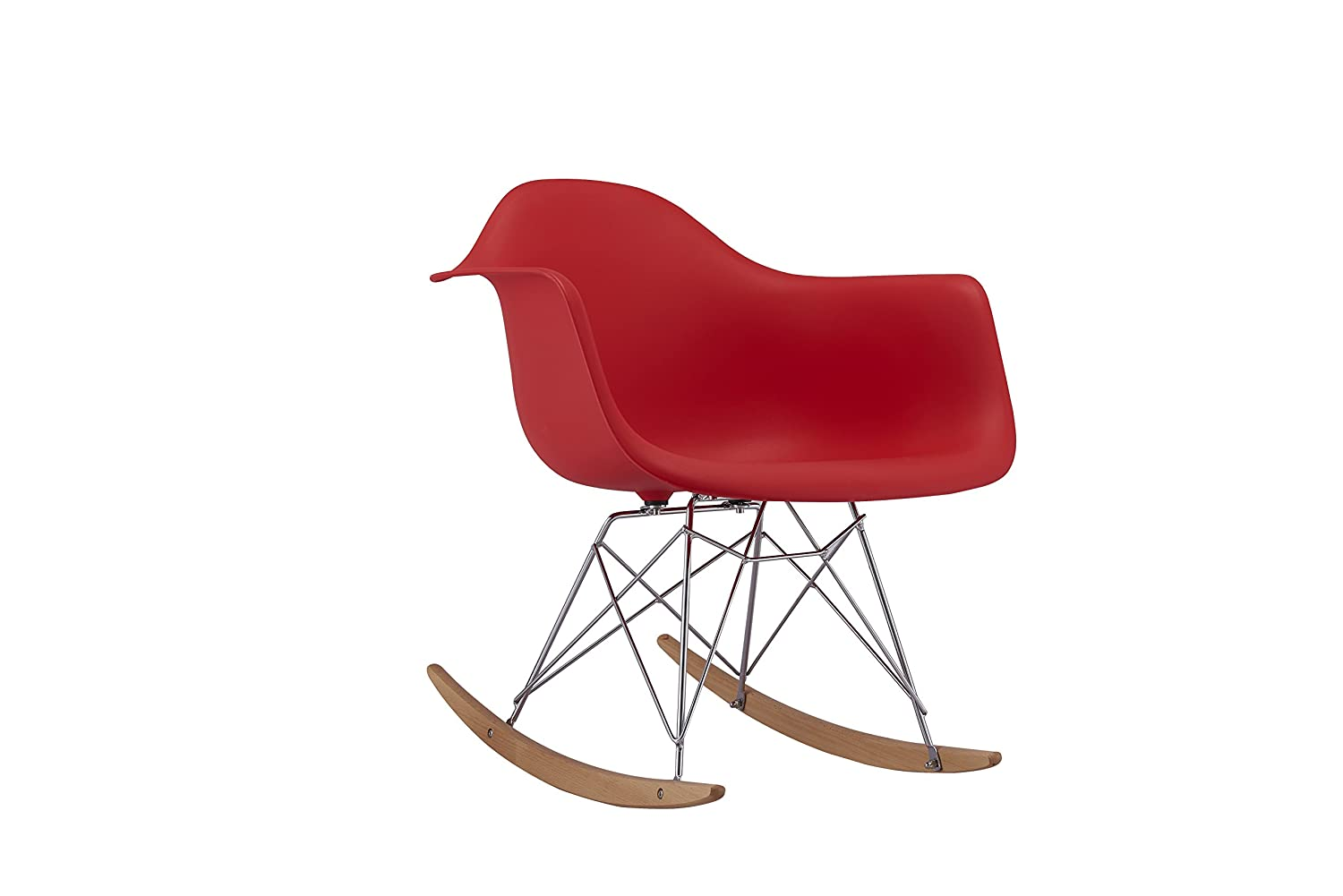 Modern Set of 2 EAMES Style Rocking Armchair Natural Wood Legs in Color White, Black and Red (Red) Homegoods Mania