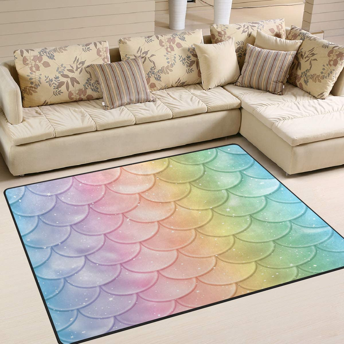 ALAZA Beautiful Mermaid Scales Tail Area Rug Rugs for Living Room Bedroom 7 x 5