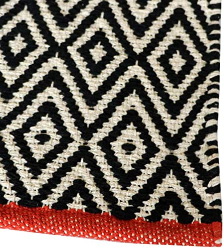 The Home Talk 100 Cotton Diamond Contemporary Area Rug Door Mat Super Hand-Woven Geometric Throw Rugs Fully Reversible Machine Washable, 24 x36 , Black