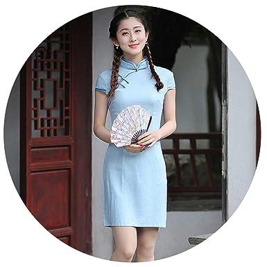 e00be05b7be Navy Blue Traditional Chinese Qipao Dress Summer Linen Cheongsam Slim Dress
