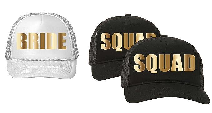 a61fa57cbee Trucker Hats Squad Bachelorette Party Vegas Wedding Black White Gold  Metalllic Package Sets