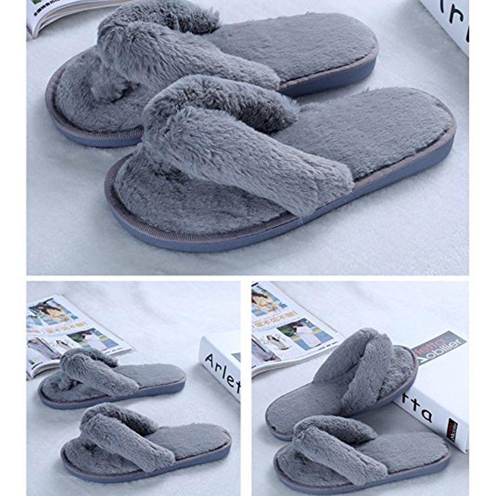 Ancoz Infradito Calde Antiscivolo in Pantofole Calde Infradito morbide da Donna (5 Colori) Grigio 0bf985
