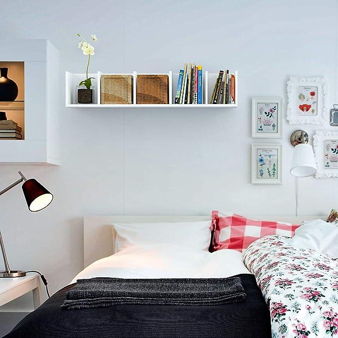 HOMFA Estantería de pared Librería de pared 5 Estantes 98x20x20cm Blanco