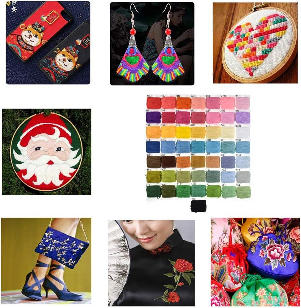 Stickgarn Embroidery Floss 37 Kreuzstich-Werkzeuge Stickerei Starter Kit f/ür Kinder Erwachsene und Anf/änger 50 Farben Stickgarn mit Aufbewahrungsbox
