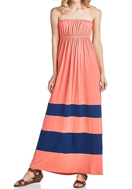 3362f137b0 Beachcoco Women s Comfortable Color-Block Tube Maxi Dress at Amazon ...
