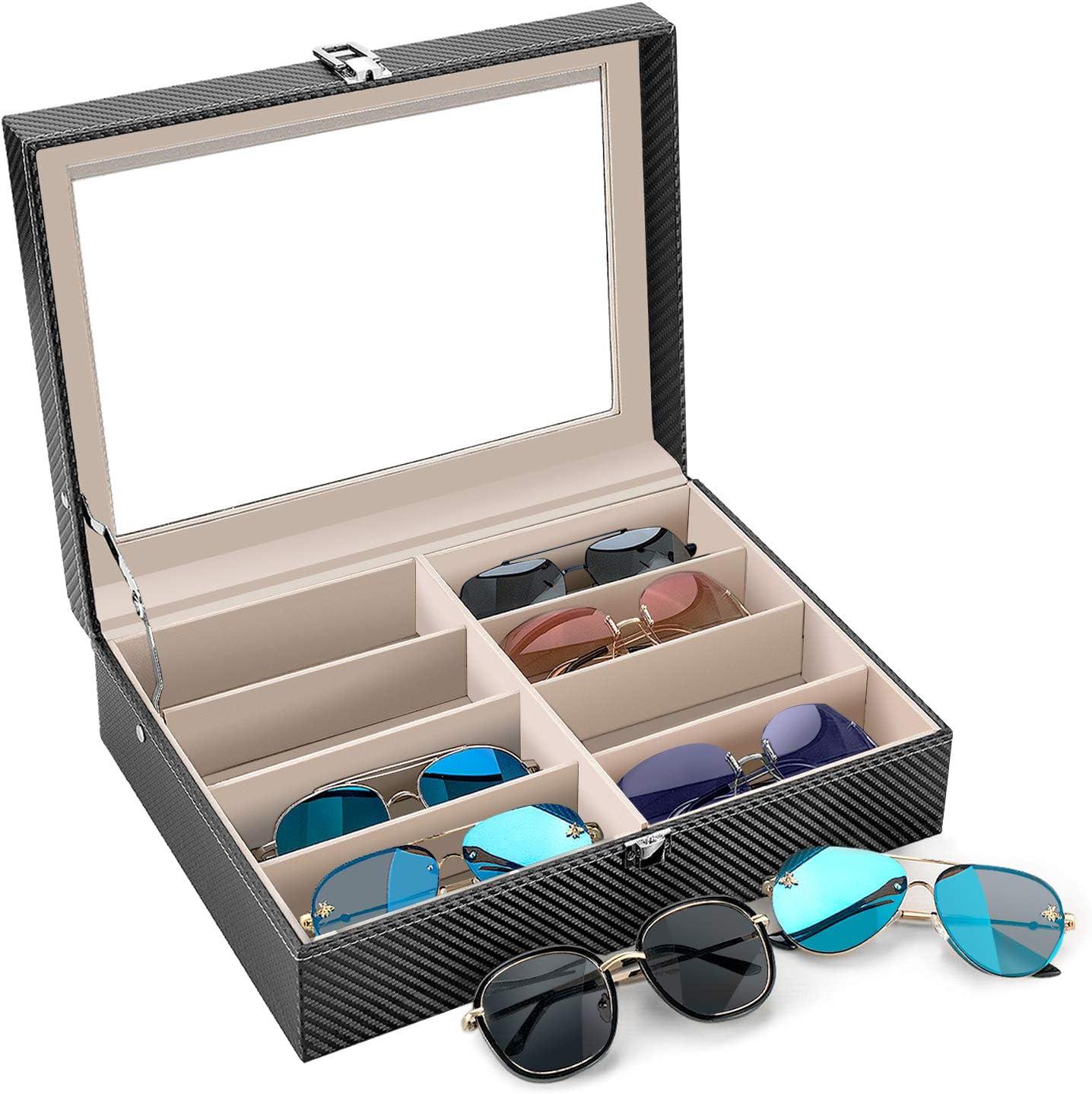 Sunglass Glasses Storage Eyeglasses Collector Eyewear Display Case Storage Box,Sunglasses Jewelry Collection Case bestwishes 8 Slot Carbon Fiber Sunglasses Organizer for Women Men
