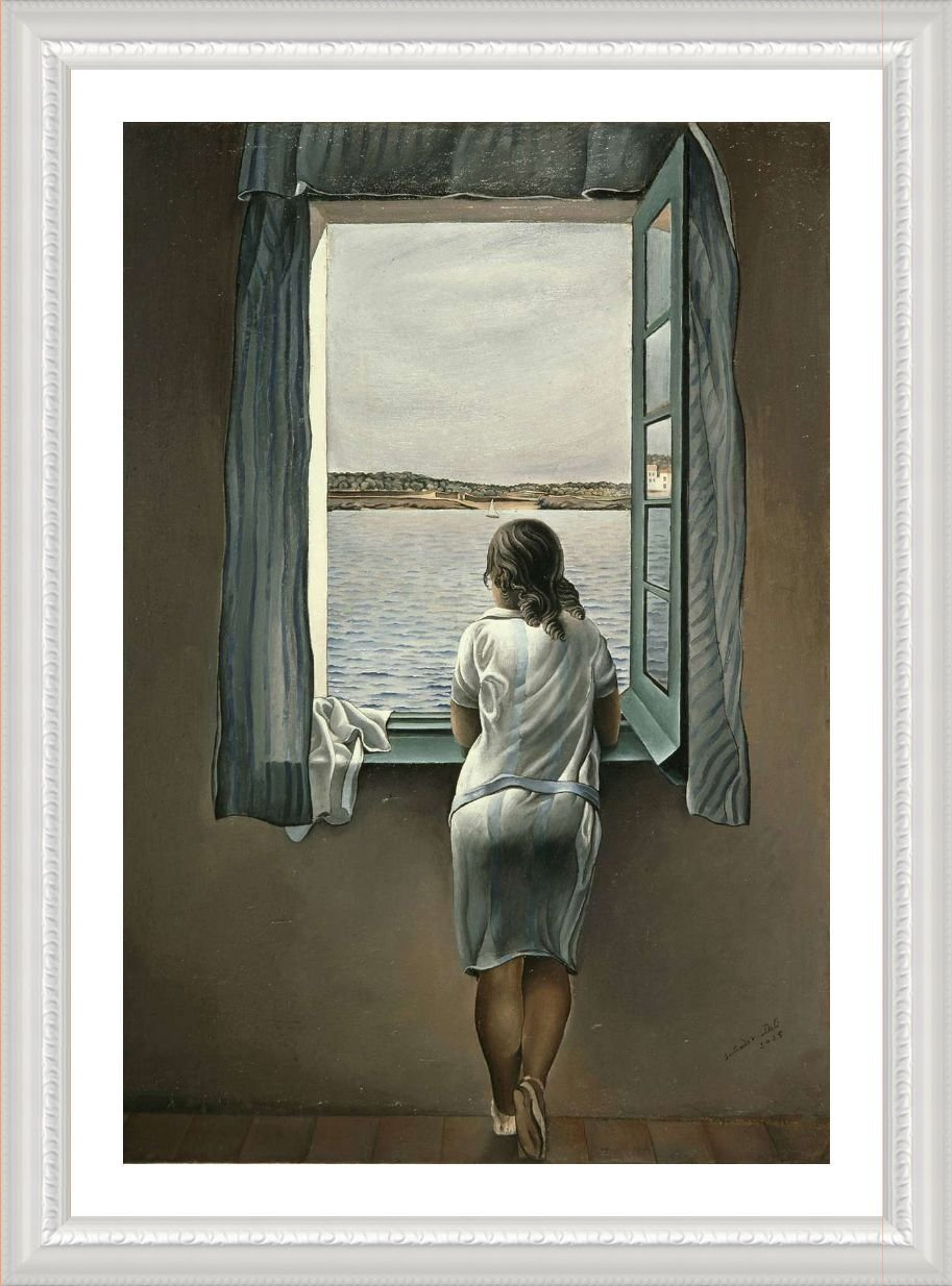 Alonline Art - Woman at The Window Salvador Dali White Framed Poster (Print on 100% Cotton Canvas on Foam Board) - Ready to Hang | 21''x29'' | Frame Oil Paintings Prints Framed Wall Decor Framed Canvas