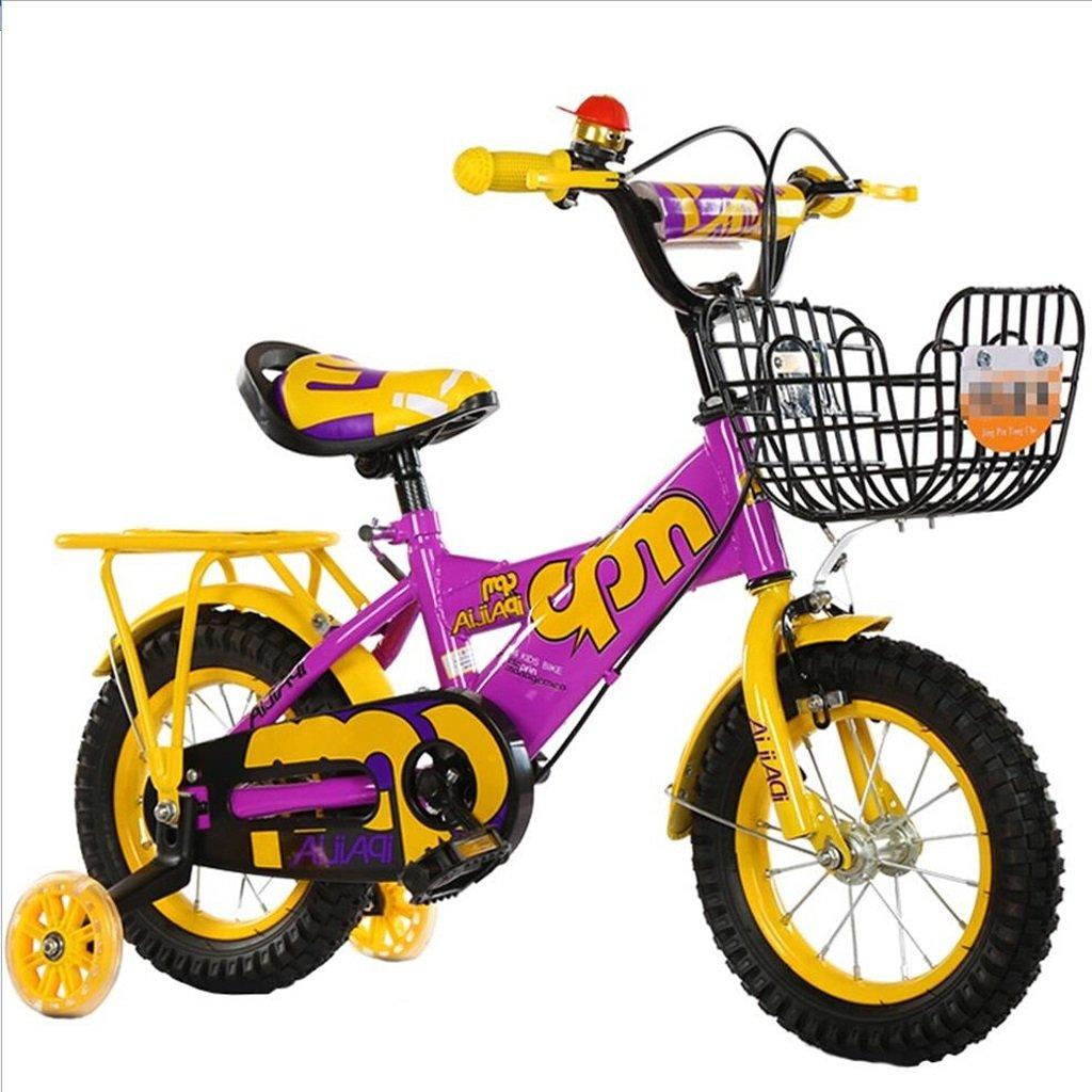 Biciclette Bici per Bambini Bambini Adatto Kid Toy Outdoor Mountain Bike Manubrio Sella Altezza può Regolabile con (Colore   giallo, Dimensione   18 inch)