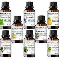 MajesticPure Aromatherapy Essential Oils Set - 10 ml Each - Includes Peppermint, Lavender, Eucalyptus, Lemon, Frankincense, Clove Leaf, Cinnamon Leaf & Rosemary Oils - Therapeutic Grade - Pack of 8