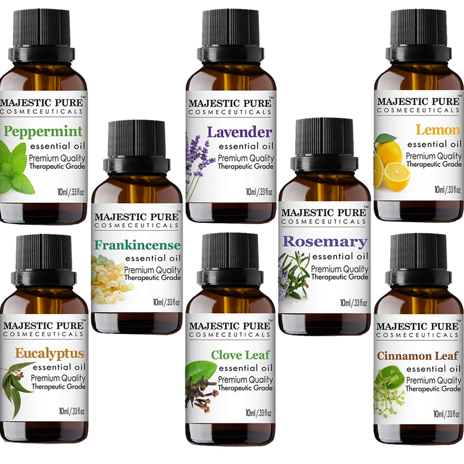 MAJESTIC PURE Essential Oils Set for Aromatherapy and Diffuser -Natural Therapeutic Grade Lavender, Eucalyptus, Peppermint, Lemon, Frankincense, Clove, Cinnamon and Rosemary Oils, Pack 8 x 10ml by Majestic Pure