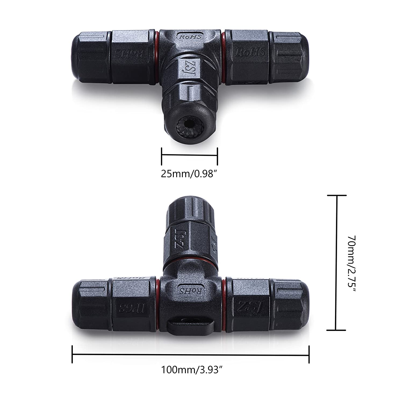 ASEL 4pcs Bo/îte de jonction IP68 Connecteur de c/âble /étanche /à lext/érieur Connecteur de gaine externe /Ø 5mm-10mm 3 p/ôles noirs