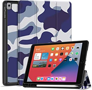 TNP Case for iPad 8 / 8th 2020 Gen, iPad 7 / 7th 2019 Generation Cover with Pencil Holder - 10.2 inch Slim Soft TPU Trifold Stand PU Leather Folio Protective Smart Auto Sleep Wake - Camouflage Blue
