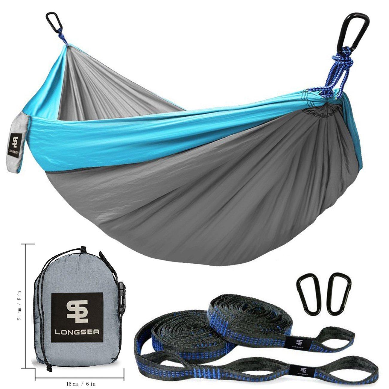 Longsea Double Camping Hammocks Garden Hammock Ultralight Portable Nylon Parachute Multifunctional Lightweight Hammocks 2 x Adjustable Hanging Straps Travel, Beach, Yard, Hiking (Blue+Grey)