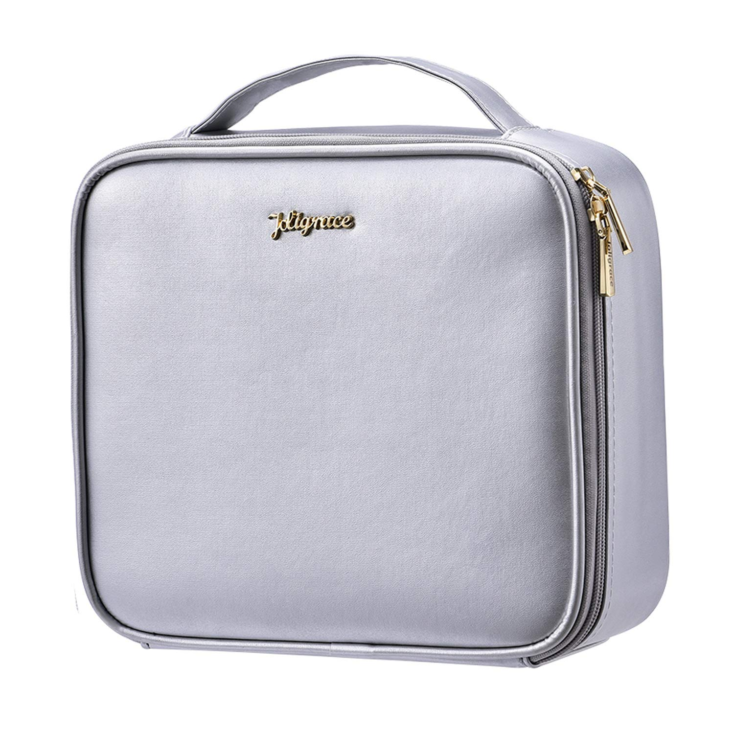 "Joligrace Upgraded Makeup Train Case 10.4"" PU Cosmetic Bag Travel Size Organizer with Brush Holder Pockets and Removable Dividers Silver"
