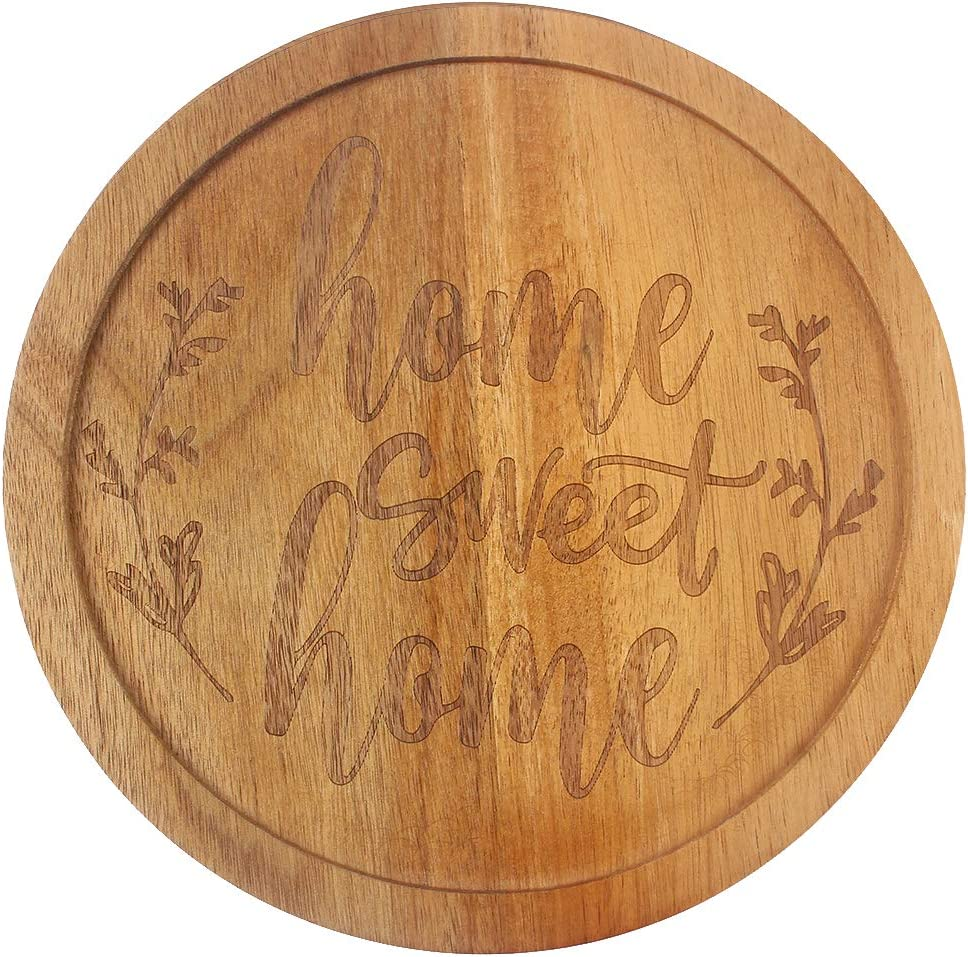 HomeLove Inc. Home Sweet Home Engraved Lazy Susan Wood Turntable for Table, Cabinet and Kitchen, Marketplace, Family Dinning Home Housewarming Christmas Decor Gift