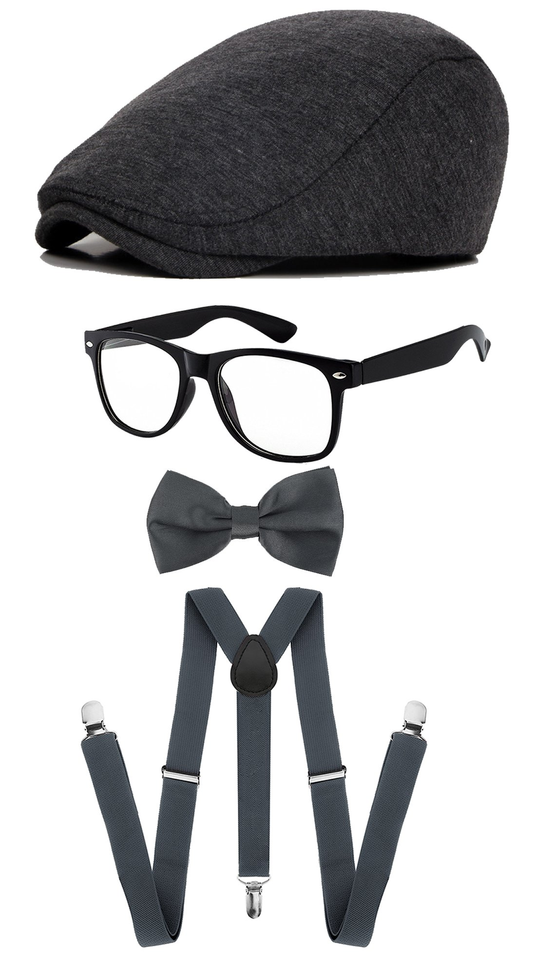 Classic Gatsby Newsboy Ivy Hat,Suspenders Y-Back Trouser Braces,Pre Tied Bow Tie,Non Prescription Glasses (Cotton - Dark Grey)