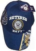 USA Retired Navy Baseball Style Embroidered Hat Blue Ball Cap Vet Us Veteran