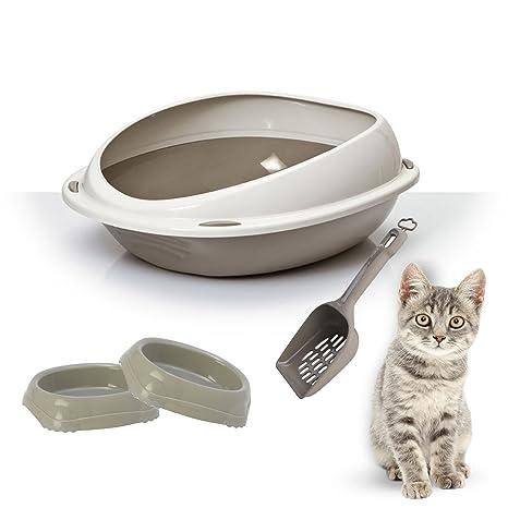Bandeja para arena de gato High Rim + 2 cuencos inteligentes + pala – Higiene para
