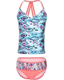 iDrawl Kids Girls Two Piece Tankini Swimsuit Tassel Swimwear Bathing Suit Set