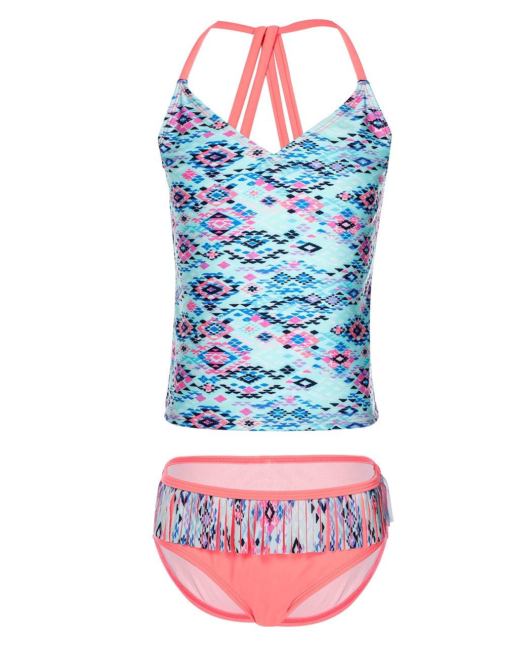 Girls Swimwear, Two Piece Rash Guard Criss Cross Swimsuits