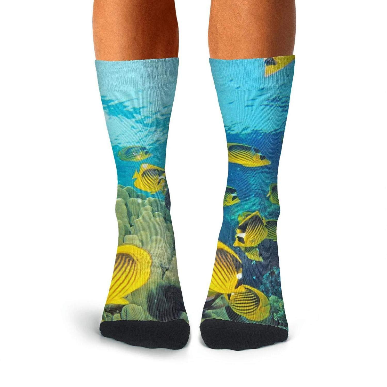 Over The Calf Socks For Men Print Compression Stockings Men KCOSSH Undersea Fish Mens Crew Socks Crazy