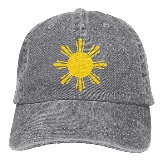Philippines Flag Golden Sun Denim Hat Adjustable Male Plain Baseball ... 9bc359da3ed