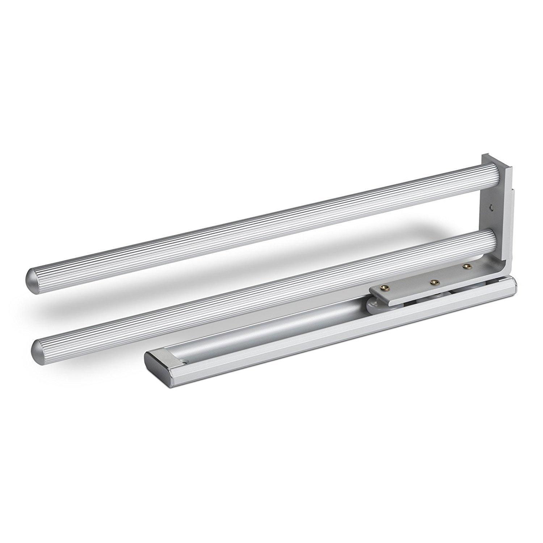 2 pièces SO-TECH® Porte-Serviettes Extensible 2-bras Pivotant 335 mm Finition Aluminium Porte-Linges Barre Glissière Porte-Serviettes SOTECH
