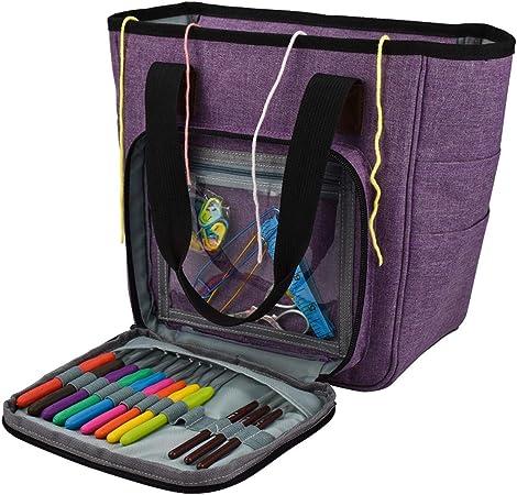 Bolsa de almacenamiento de hilo portátil - Estuche de tejido de punto de bricolaje Bolsa de almacenamiento de hilo de tejer portátil con múltiples bolsillos Bolsas para agujas Hilos Ganchillo: Amazon.es: Hogar