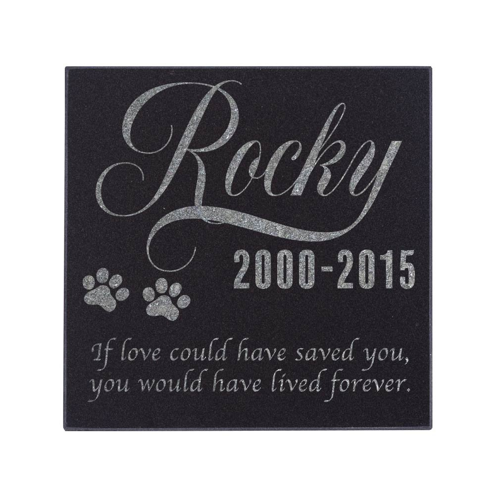 Personalized Pet Memorial Stone Customized Memorial Stone for Loved One's Sympathy Gift - Indoor-Outdoor Headstone Granit Pet Memorial Stone Personalized Dog/Cat Grave Marker 6'' x 6'' #S1