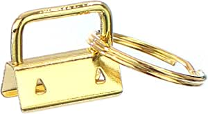 "25 Pack - CleverDelights 1"" Key Fob Hardware Set with Key Rings - Gold Color - for Lanyards Key Chain Wristlets - 1 Inch"