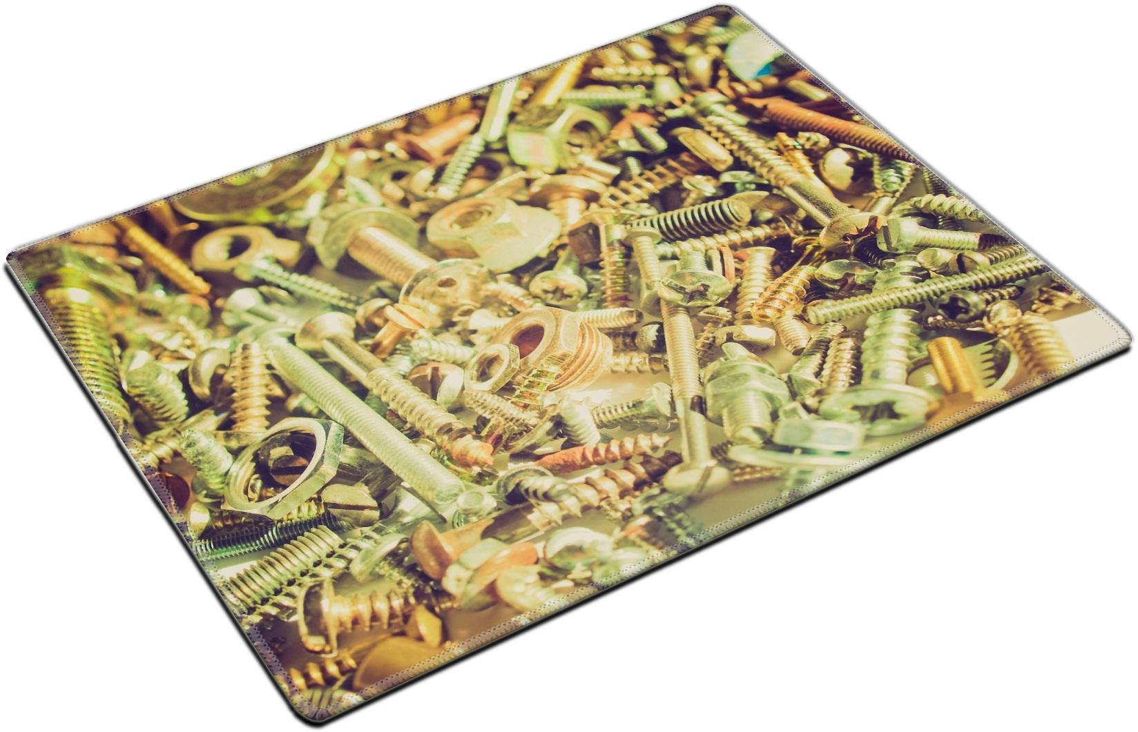 MSD Placemat Non-Slip Natural Rubber Desk Pads Place-mats Design 27040381 Vintage Looking Industrial Steel Hardware Bolts Nuts Screws