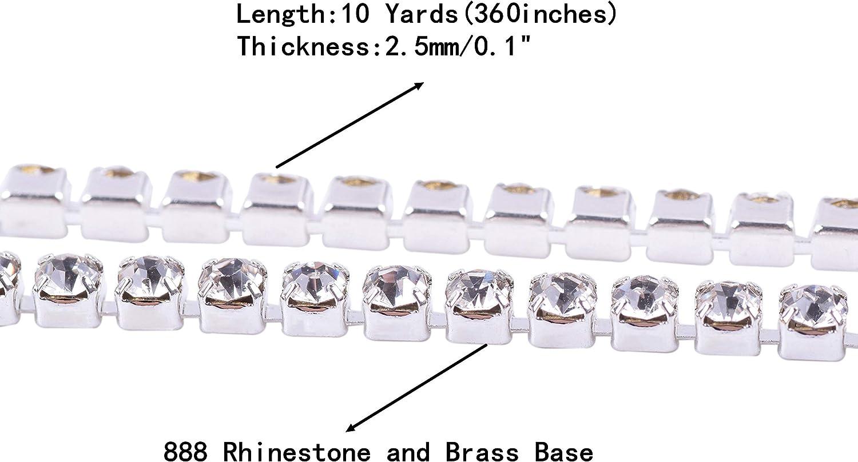 KAOYOO 10 Yards 4 MM Crystal Rhinestone Close Chain Trim