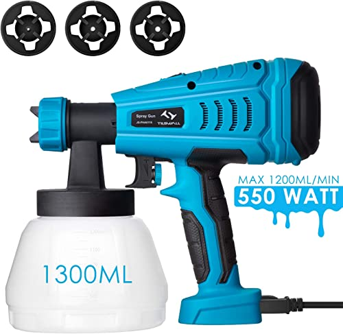 Paint Sprayer, Tilswall 550 Watt HVLP Home Electric Spray Gun Power Painter with 1300ML Detachable Tank Max 1200ml min, 3 Spray Patterns,3 Nozzle Sizes for Fence, Cabinet, Home Painting