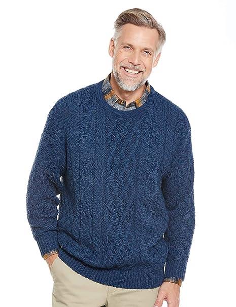 44c06a8680da7 Mens Warm Aran Jumper Cable Sweater  Amazon.co.uk  Clothing