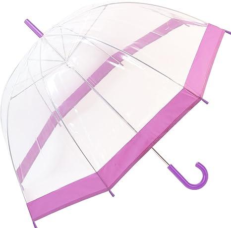 Paraguas, transparente, con forma de campana-bordo, para adulto unisex manual (