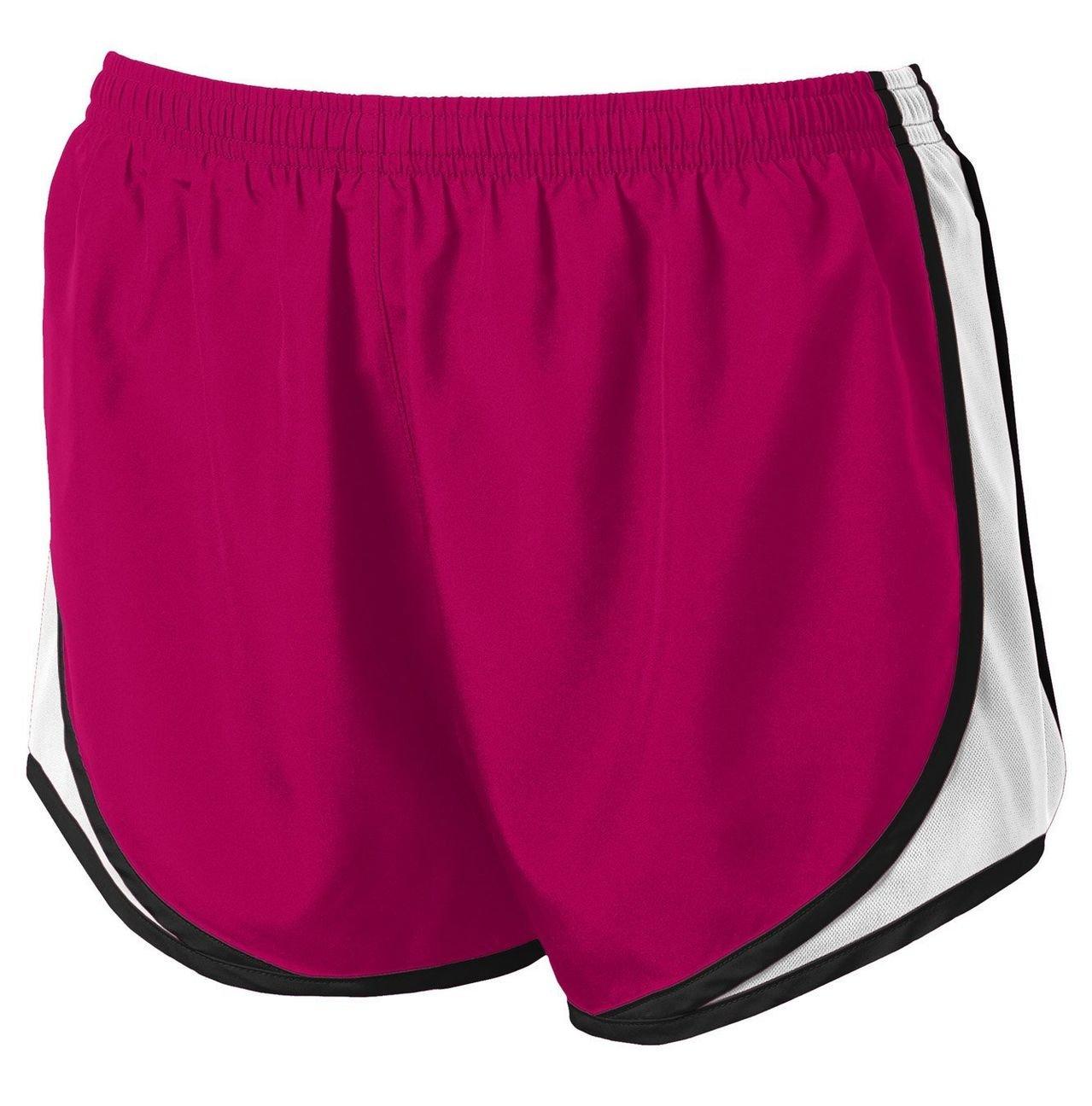 Clothe Co. Ladies Moisture Wicking Sport Running Shorts, Pink Raspberry/White/Black, XS