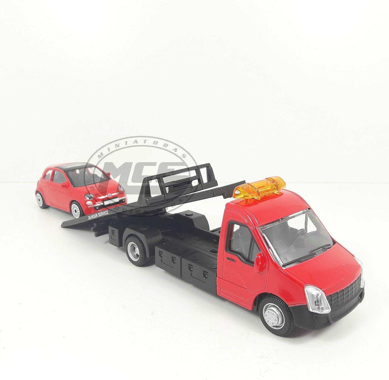 Desconocido 1//43 IVECO Daily Rojo Red Asistencia GR/ÚA con FIAT 500 BBURAGO