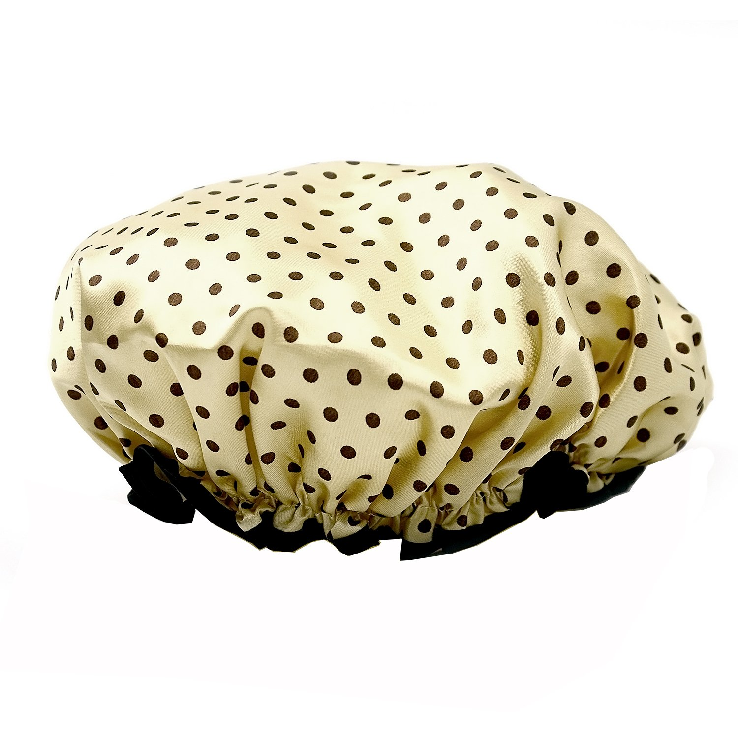 Elisona-Shower Cap, EVA Polka Dot Pattern Waterproof Double Layers Elastic Band Hair Bath Cap Shower Hat
