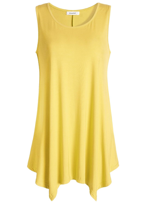 Yellow Esenchel Women's Flowing Tunic Tank Top Sleeveless Loose Shirt