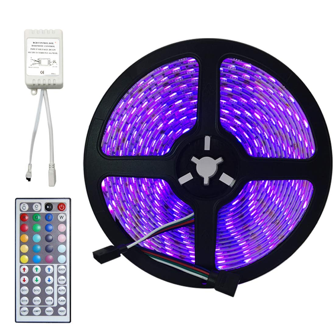 EconoLed 5M 16.4Ft RGB 5050SMD 300LED Waterproof Flexible LED Light Strip lamp + 44Key IR Remote (Supports Max 5 meters of RGB LED flexible strips) US Seller